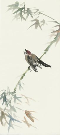 竹子与小鸟水墨画