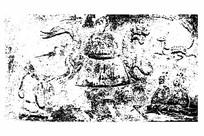 东汉西王母骑龙架虎画像砖拓片