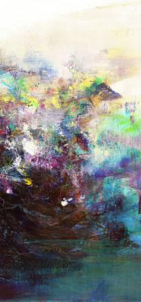 现代竖版装饰抽象油画