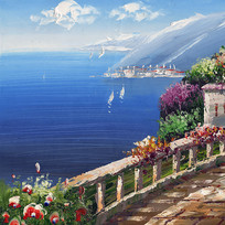 地中海风景油画