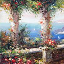 欧式建筑花园油画