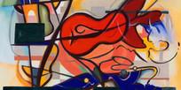 涂鸦乐器装饰画
