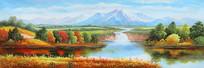 河流风景油画