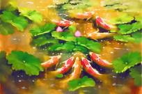 客厅九鱼装饰画