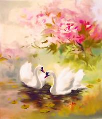 天鹅艺术画