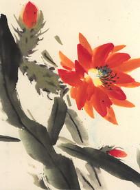 花卉水墨画