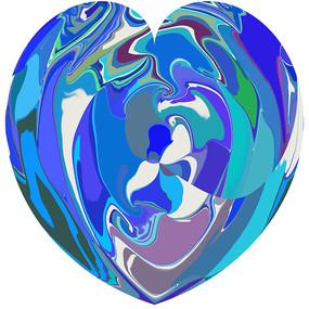 蓝色爱心数码印花