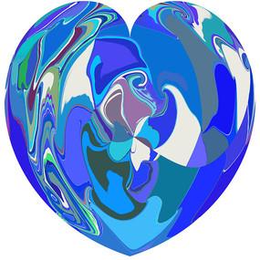 蓝色之心数码印花花型图案