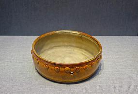 黄釉鼓式钵