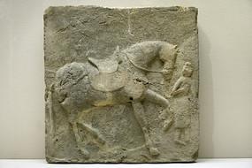 唐代模印牽馬圖墓磚
