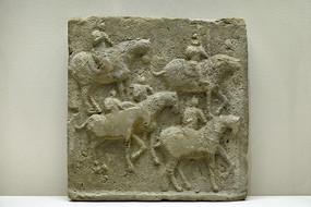 唐代模印騎馬武士墓磚
