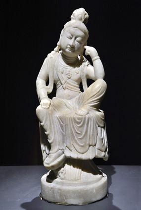 唐漢白玉思維菩薩像