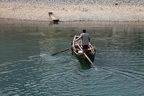 重慶市巫山縣龍溪古鎮柳葉舟渡船