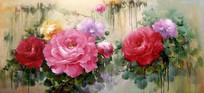 牡丹花横幅油画