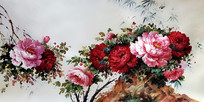 牡丹花油画