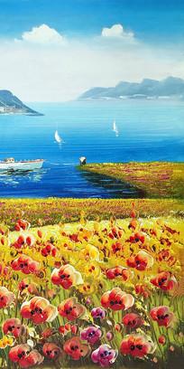 地中海花海油画