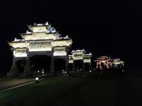 浦江江南第一家牌坊夜景