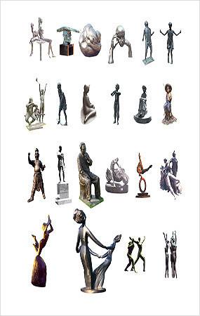 金属雕塑小品PSD