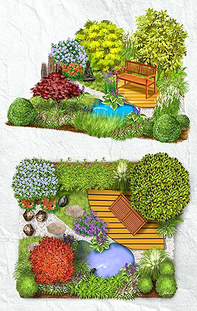 植物花境手绘素材