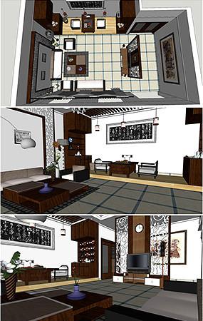 客厅SU模型