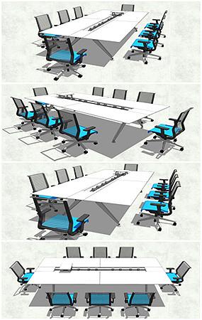 会议室办公桌椅SU模型