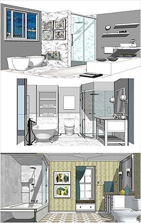 卫生间浴室SU模型