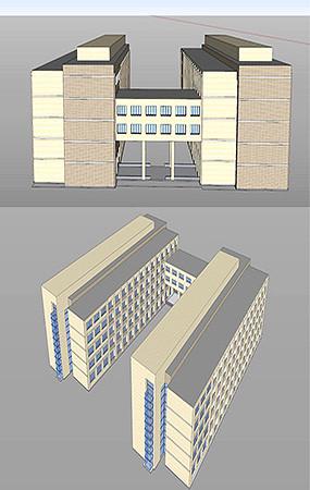 学校宿舍楼寝室楼模型