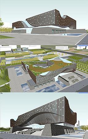 文化中心建筑模型