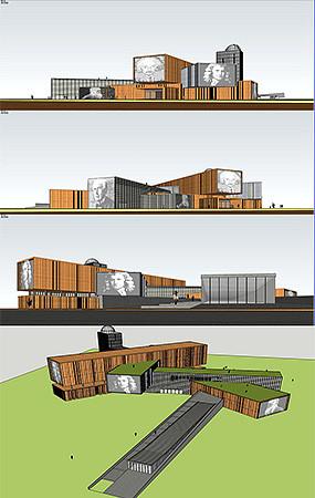 文化馆建筑模型