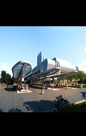 车站建筑景观效果图