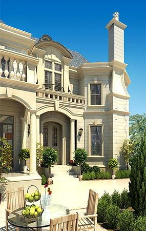 别墅建筑景观透视效果