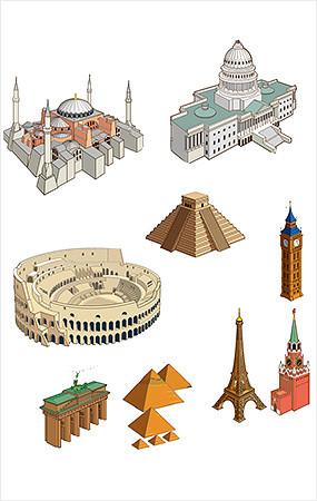 手绘建筑素材