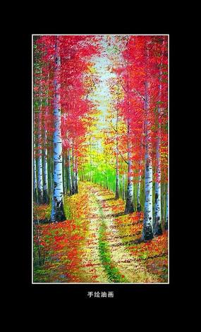 油畫風景秋天的白樺林