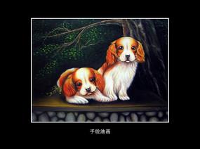 油画动物小狗