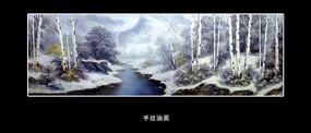 油画风景冬天的白桦林