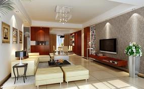 中式家居设计客厅效果图设计3D图片