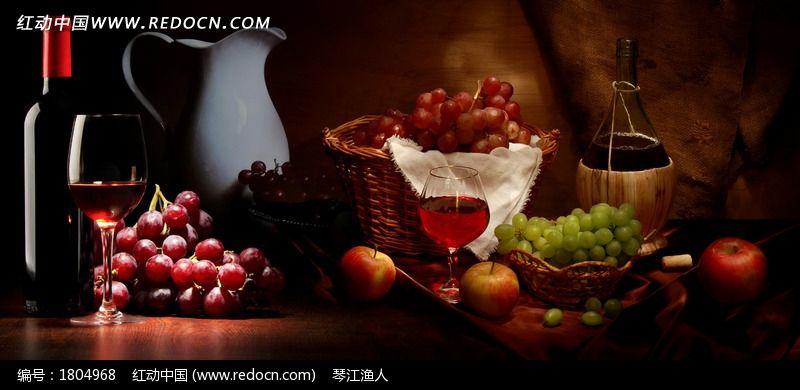 高清油画风格水果静物图片
