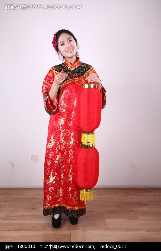 提灯笼的传统节日美女模特图片