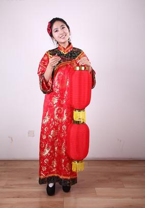 提灯笼的传统节日美女模特