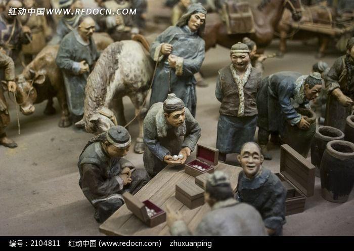 古代集市出售珠宝泥塑彩绘图片