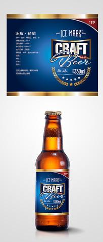 简洁大气蓝色啤酒帖
