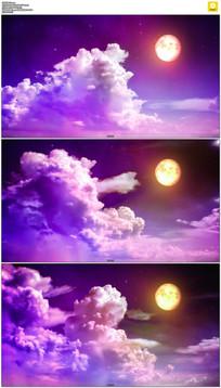 紫色夜空云彩月亮背景视频素材