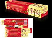 红色金装中药牙膏盒设计