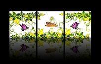 美丽蝴蝶鲜花无框装饰画