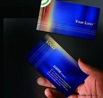 蓝色科技名片PSD模板免费下载