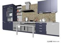 蓝色3D厨房模型