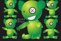 5款原创绿色小熊卡通形象CDR矢量图