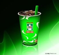 绿色调汽水杯包装