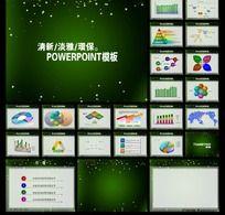 绿色圣诞雪花PPT模板图表下载