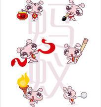 可爱矢量卡通蚂蚁-中国元素